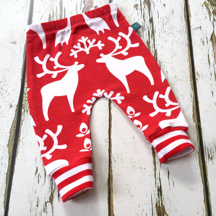 Christmas leggings for toddlers - red reindeer