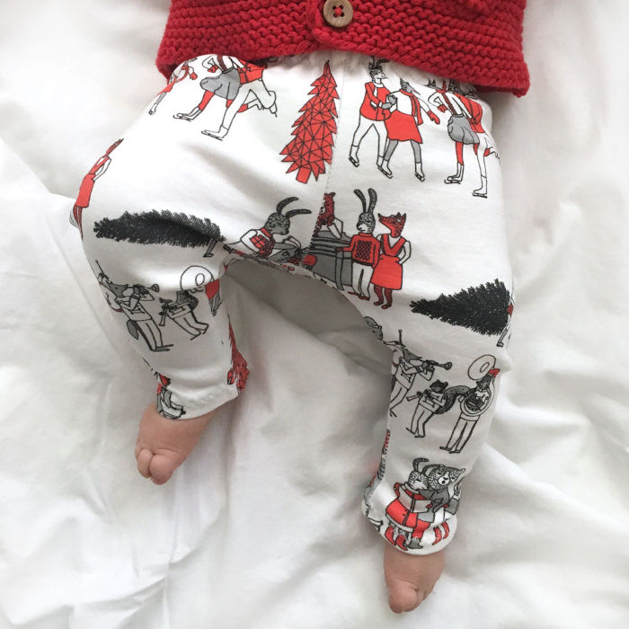Christmas leggings for toddlers - woodland Chrismas leggings